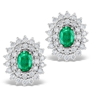 Emerald 5 x 7mm And Diamond 9K White Gold Earrings