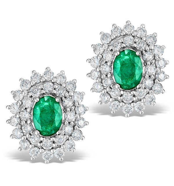 Emerald 5 x 7mm And Diamond 9K White Gold Earrings - image 1
