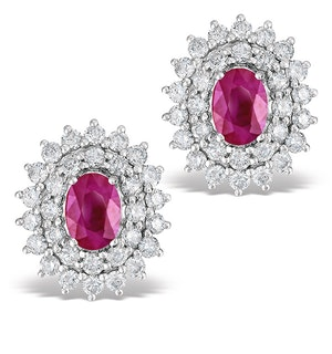 Ruby 1.15CT And Diamond 18K White Gold Earrings