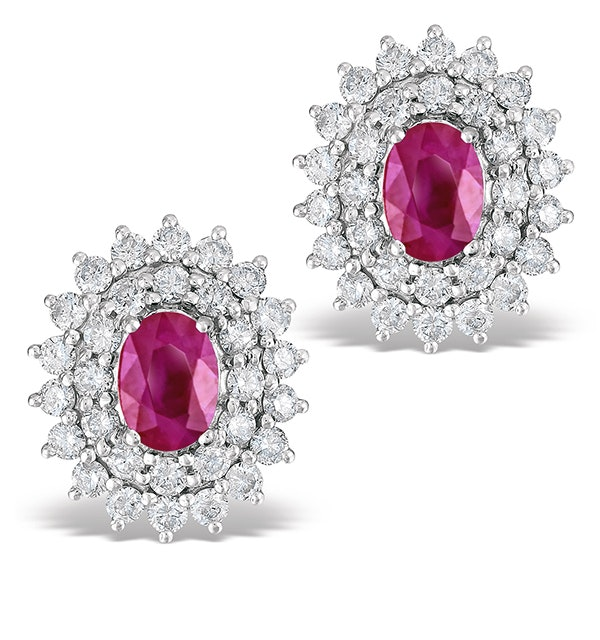 Ruby 1.15CT And Diamond 18K White Gold Earrings - image 1