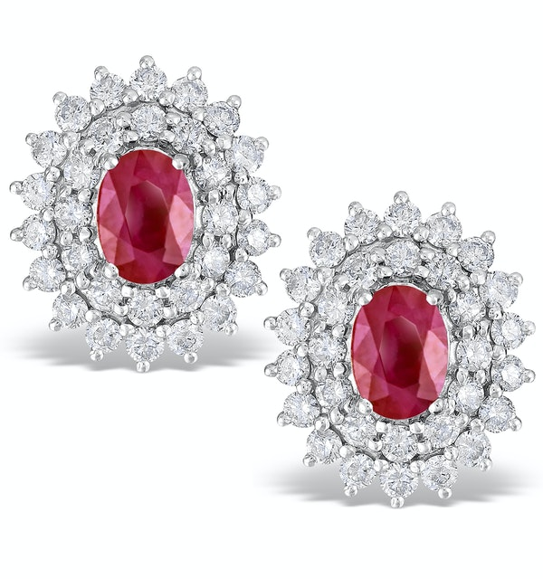 Ruby 0.90CT And Diamond 9K White Gold Earrings - image 1