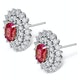 Ruby 0.90CT And Diamond 9K White Gold Earrings - image 2
