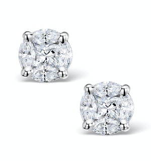 Diamond Earrings 2.00ct Look Galileo Style 0.74ct in Platinum