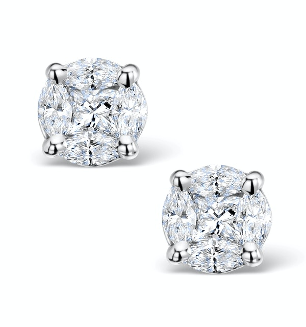Diamond Earrings 2.00ct Look Galileo Style 0.74ct in 18K White Gold - image 1