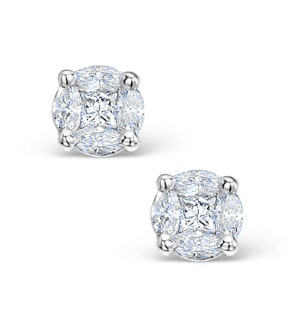 Diamond Earrings 1.00ct Look Galileo Style - 0.30ct in Platinum