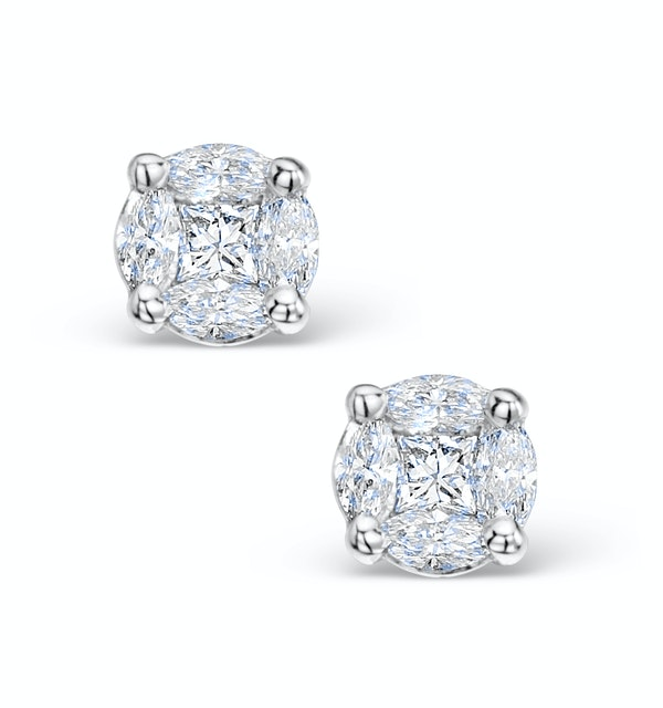 Diamond Earrings 1.00ct Look Galileo Style - 0.30ct in 18K White Gold - image 1
