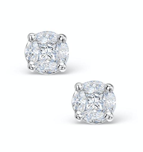 Diamond Earrings 1.00ct Look Galileo Style - 0.30ct in Platinum - image 1