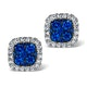 18K White Gold KEIRA 3ct Sapphire and 1ct Diamond HALO Earrings - image 1
