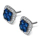 18K White Gold KEIRA 3ct Sapphire and 1ct Diamond HALO Earrings - image 2