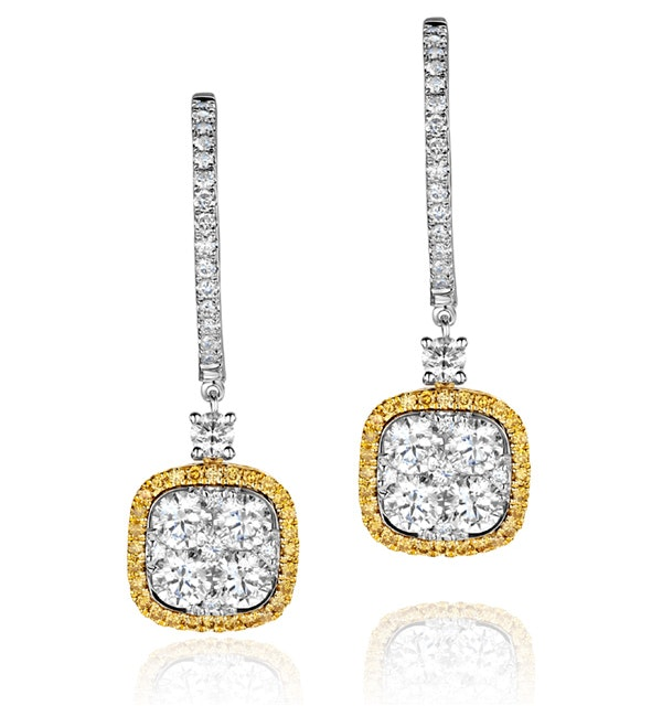 18K White Gold an gelina 3ct Diamond and Yellow Diamond Halo Earrings - image 1