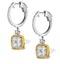 18K White Gold an gelina 3ct Diamond and Yellow Diamond Halo Earrings - image 2
