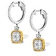18K White Gold an gelina 3ct Diamond and Yellow Diamond Halo Earrings - image 2