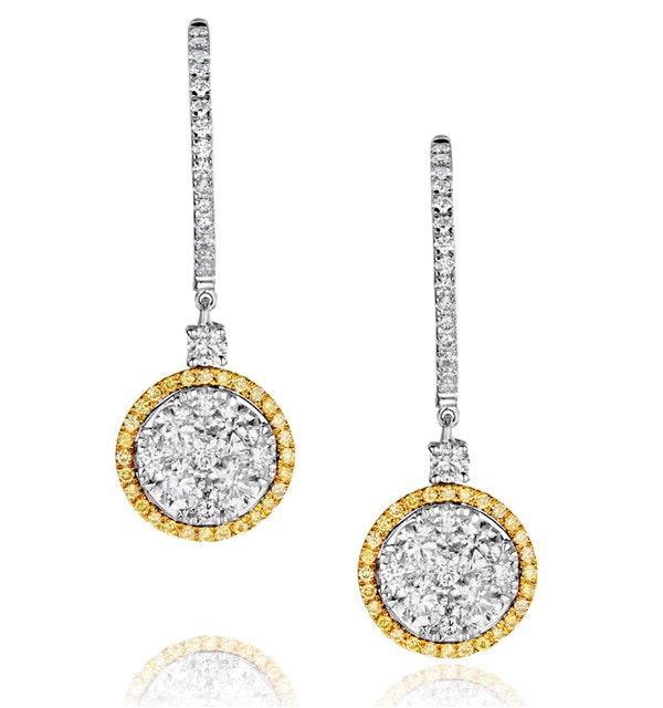 18K White Gold Alessia 2.50ct Diamond and Yellow Diamond Halo Earrings - image 1