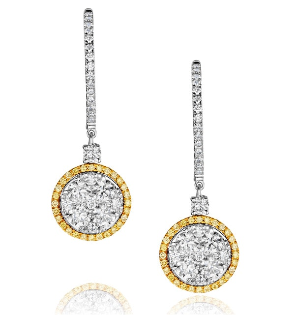 18K White Gold Alessia 2.50ct Diamond and Yellow Diamond Halo Earrings - image 1
