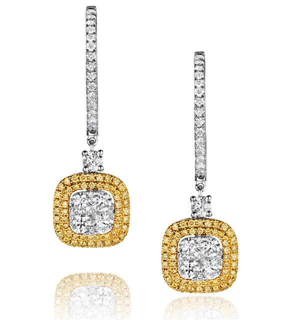 18K White Gold Lucia 1.90ct Diamond and Yellow Diamond Halo Earrings - image 1