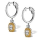 18K White Gold Lucia 1.90ct Diamond and Yellow Diamond Halo Earrings - image 2