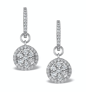 Halo Lab Diamond Drop Earrings - Florence - 1.50ct - in 9K White Gold