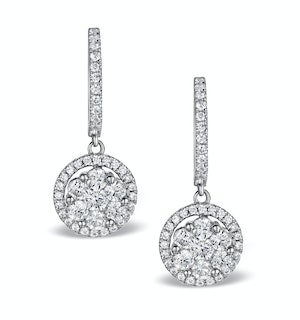 Halo Lab Diamond Drop Earrings - Florence - 1.09ct - in 9K White Gold