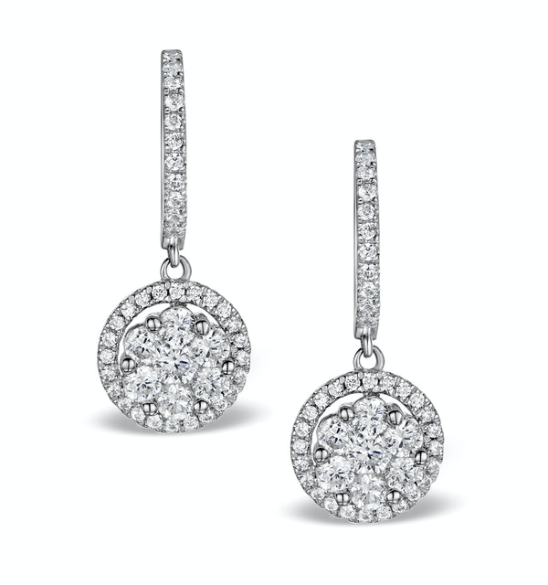 Halo Diamond Drop Earrings - Florence - 1.09ct - in 18K White Gold - image 1