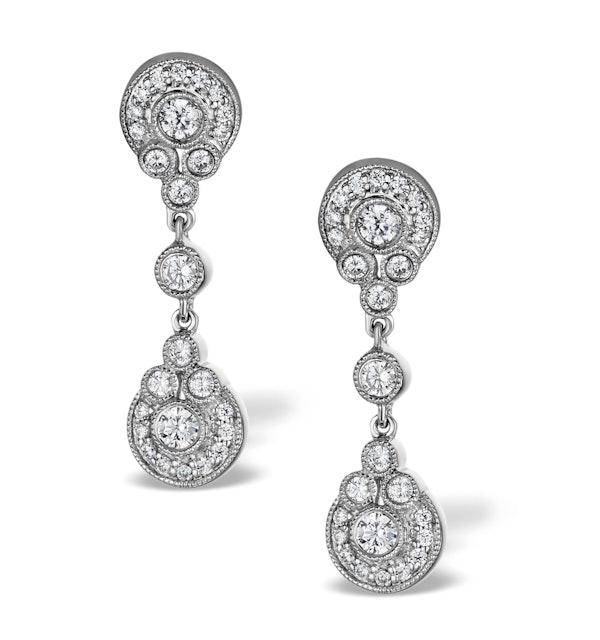 Vintage Diamond Drop Earrings - Vittoria - 0.80ct - in 18K White Gold - image 1