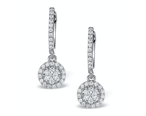 Round Cut Diamond Vintage Style Earrings