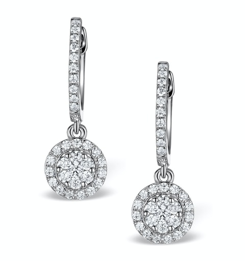 Halo Diamond Drop Earrings - Florence - 0.46ct - in 18K White Gold - image 1
