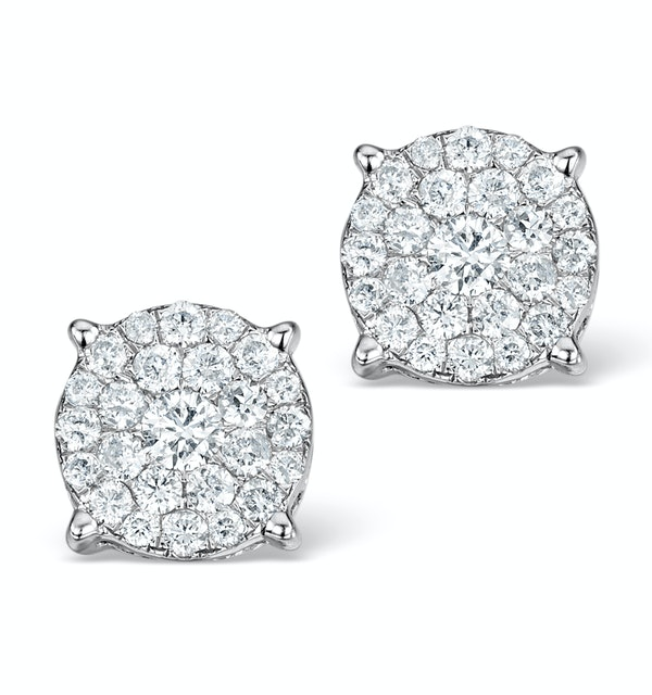 Diamond Earrings Moyen 0.85ct H/Si in 18K White Gold - P3471Y - image 1