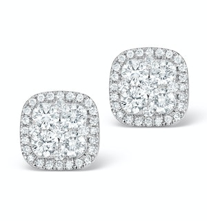 Diamond Earrings Carre 1.25ct H/Si in 18K White Gold - P3482W
