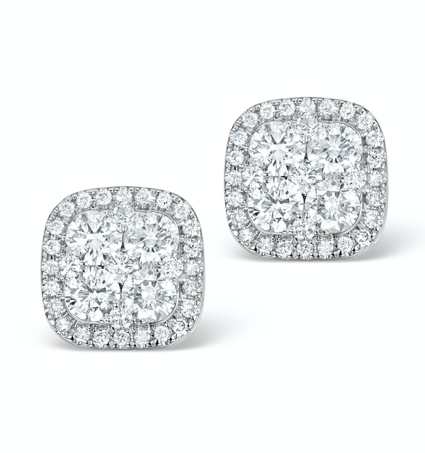 Diamond Earrings Carre 1.25ct H/Si in 18K White Gold - P3482W - image 1
