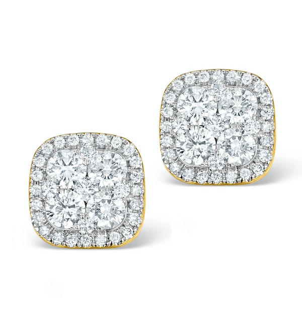 Diamond Earrings Carre 1.25ct H/Si in 18K Gold - P3482 - image 1