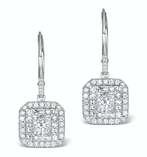Diamond Halo Princess Cut Drop Earrings 1.75ct 18K White Gold - P3483W