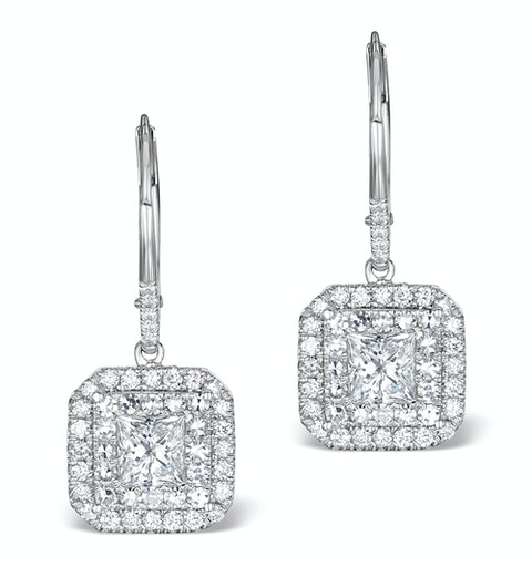 Diamond Halo Princess Cut Drop Earrings 1.75ct 18K White Gold - P3483W - image 1