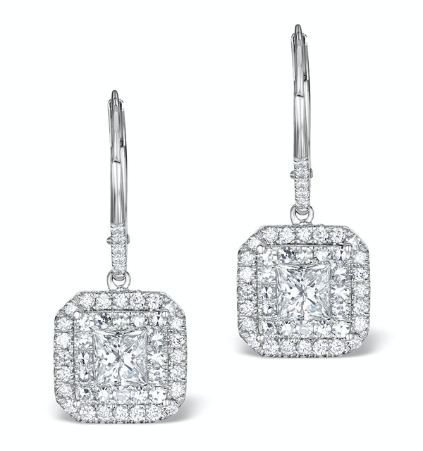 Diamond Halo Princess Cut Drop Earrings 1.75ct 18K White Gold - P3483W - image 1