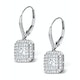 Diamond Halo Princess Cut Drop Earrings 1.75ct 18K White Gold - P3483W - image 2