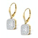 Diamond Halo Princess Cut Drop Earrings 1.75ct H/Si 18K Gold - P3483 - image 2