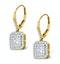 Diamond Halo Princess Cut Drop Earrings 1.75ct H/Si 18K Gold - P3483 - image 2