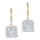 Diamond Halo Princess Cut Drop Earrings 1.75ct H/Si 18K Gold - P3483 - image 1