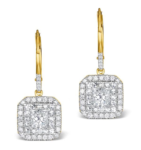 Diamond Halo Princess Cut Drop Earrings 1.75ct H/Si 18K Gold - P3483 - image 1