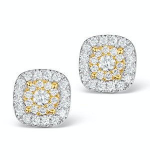 Diamond Halo Earrings 0.60ct H/Si in 18K White Gold - P3484Y