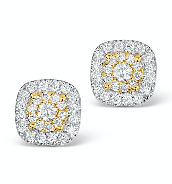 Diamond Halo Earrings 0.60ct H/Si in 18K White Gold - P3484Y - image 1