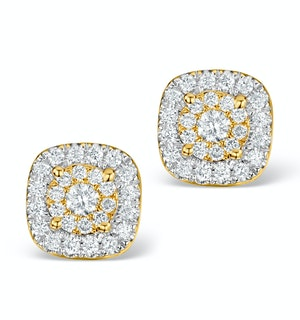 Diamond Halo Earrings 0.60ct H/Si in 18K Gold - P3484