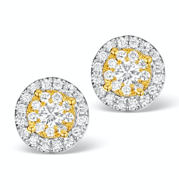 Diamond Halo Earrings 0.62ct H/Si in 18K White Gold - P3485Y - image 1