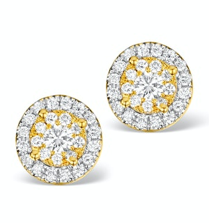 Diamond Halo Earrings 0.62ct H/Si in 18K Gold - P3485