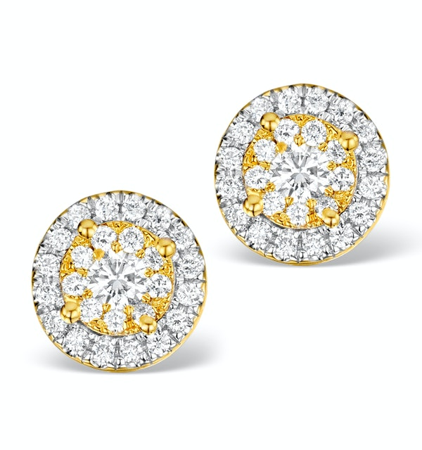 Diamond Halo Earrings 0.62ct H/Si in 18K Gold - P3485 - image 1