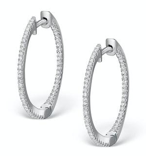 Diamond Hoop Earrings 0.54ct H/Si in 18K White Gold - P3486Y
