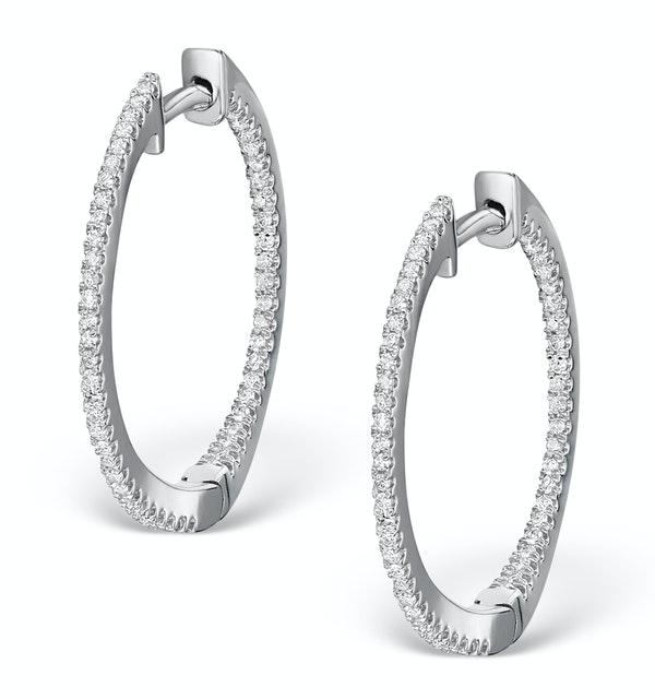 Diamond Hoop Earrings 0.54ct H/Si in 18K White Gold - P3486Y - image 1