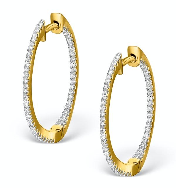Diamond Hoop Earrings 0.54ct H/Si in 18K Gold - P3486 - image 1