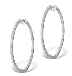 Diamond Hoop Earrings 2ct H/Si in 18K White Gold - P3487Y