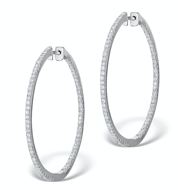 Diamond Hoop Earrings 2ct H/Si in 18K White Gold - P3487Y - image 1