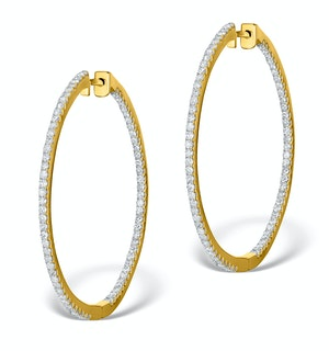 Diamond Hoop Earrings 2ct H/Si in 18K Gold - P3487